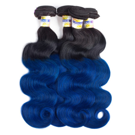 Brazilian Ombre Body Wave Bundles Hair Extensions With Two Tone Natural Black To Blue Colour 3