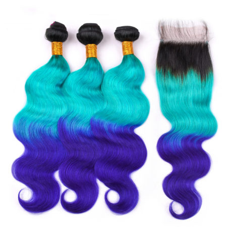 TB Green Blue Ombre Body Wave Brazilian Human Hair Weave Bundles With Lace Closure 1