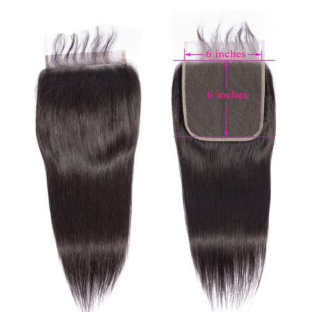 Brazilian Remy Straight 6x6 Big Size Swiss Lace Closure Pre Plucked With Baby Hair (3)