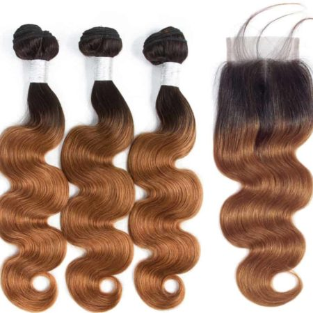 Peruvian 1B 30 Ombre Dark Blonde Body Wave Hair Weave 3 Bundles With Lace Closure (1)