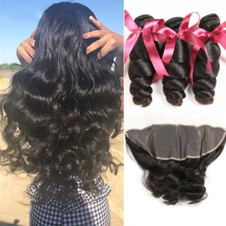 Peruvian Human Loose Wave Hair Weave Bundles With 13X4 Frontal (6)