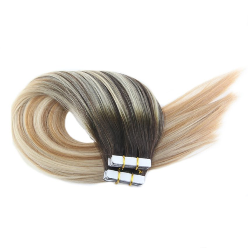 100% Human Ombre Tape In Hair Extensions Balayage Color #2 27 613 20PCS 50G (2)