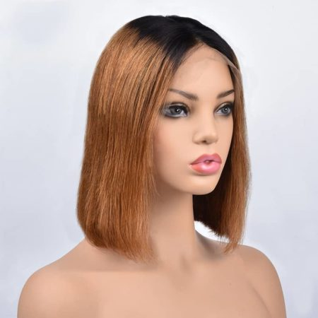 13x4 Glueless Lace Front Short 1B 27 Ombre Bob Wigs Silky Straight Peruvian Human Remy Hair (3)