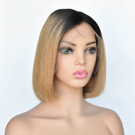 13x4 Glueless Lace Front Short 1B 27 Ombre Bob Wigs Silky Straight Peruvian Human Remy Hair (5)