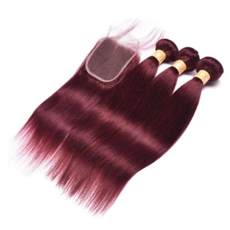 99J Red Dark Human Malaysian Hair Straight 3 Bundles With Lace Closure (4)