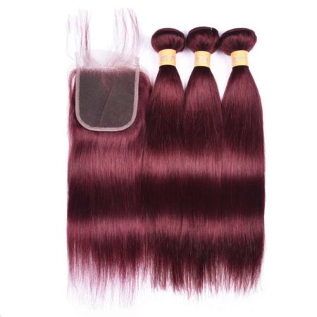 99J Red Dark Human Malaysian Hair Straight 3 Bundles With Lace Closure (5)