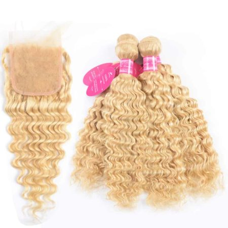 Blonde Real Malaysian Hair Bundles Deep Wave With Lace Closure (2)