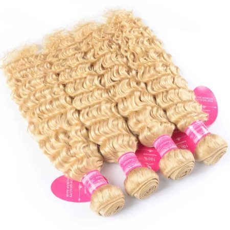 Blonde Real Malaysian Hair Bundles Deep Wave With Lace Closure (5)