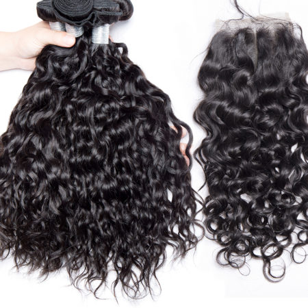 Human Malaysian Water Wave Remy Hair 3 Bundles with Lace Closure (5)