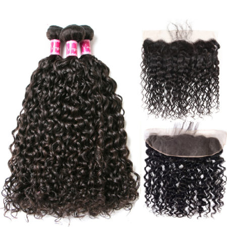 Human Natural Color Brazilian Remy Natural Wave Hair 4 Bundles With 13X4 Closure (4)