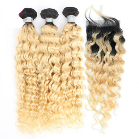 Human Remy Deep Wave Russian Blonde Bundles with with 4x4 Lace Closure (5)