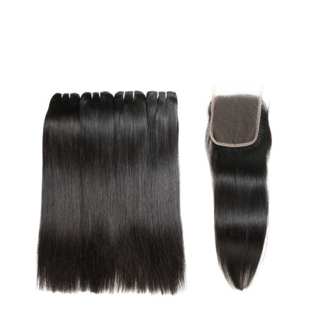 Human Virgin Cambodian Straight Hair Bundles With Lace Closure (2)