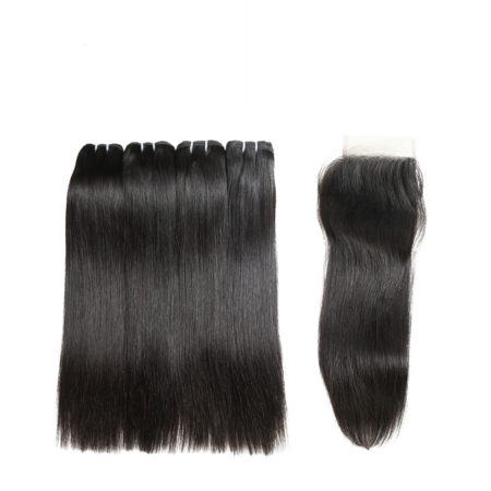 Human Virgin Cambodian Straight Hair Bundles With Lace Closure (3)