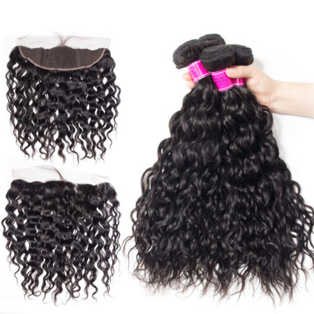Indian Natural Weave Remy Human Hair 4 Bundles With 13x4 Lace Frontal Closure (1)