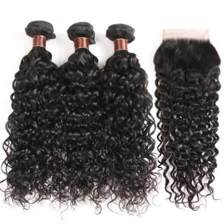 Malaysian Human Remy Curly Hair Bundles with Closure (4)