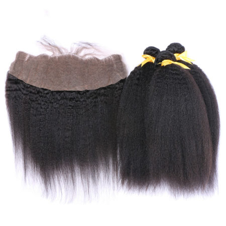 Mongolian Kinky Straight Human Hair 3 Bundles with 13x4 Lace Frontal Closure (1)