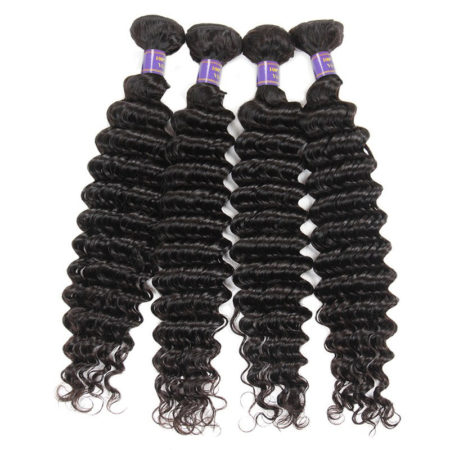 Mongolian Remy Deep Wave Human Hair 4 Bundles With Lace Closure Natural Colour (2)