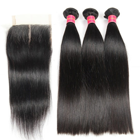 Natural Color Indian Straight 100% Human Hair 3 Bundles with Lace Closure (1)
