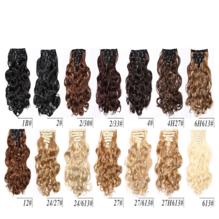 Synthetic 7 Pieces Full Head 16 Clips in Curly Hair Extensions (3)
