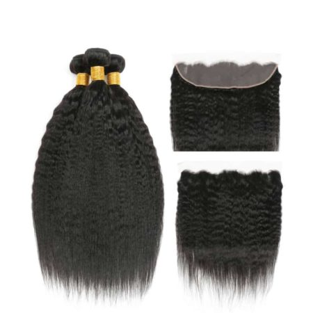 100% Human Peruvian Kinky Straight Hair 3 Bundles With Lace Frontal (1)
