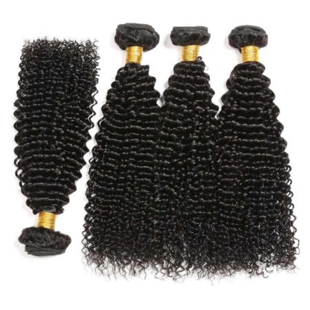 100% Human Remy Hair Kinky Curly 3 or 4 Bundles With 5x5 Lace Closure (3)