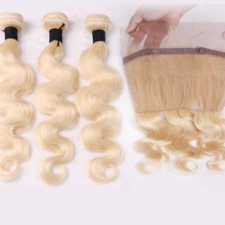 Blonde 613 Brazilian Body Wave Remy Hair Bundles With 360 Lace Closure (1)