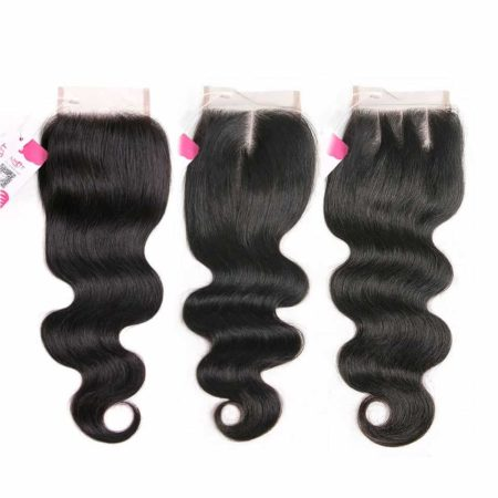 Brazilian 4x4 Body Lace Closure 10-22 Inch Free or Middle or Three Part Natural Color (3)