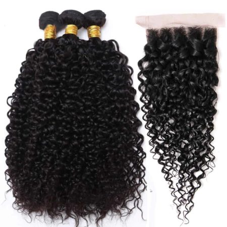 Brazilian 8A Kinky Curly 3 Bundles with Cheap Lace Closure (6)