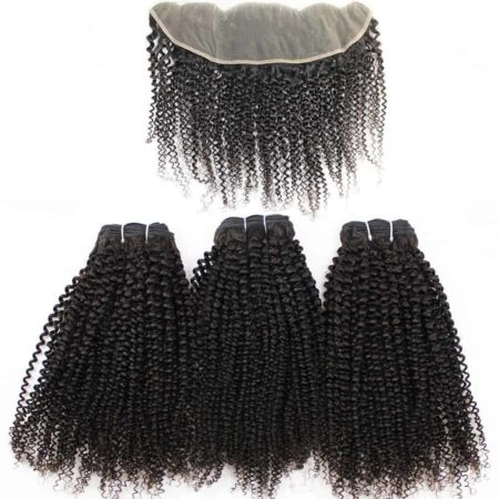 Brazilian Afro Kinky Curly Human Hair Weave 3 Bundles With 13x4 Ear to Ear Frontal (3)