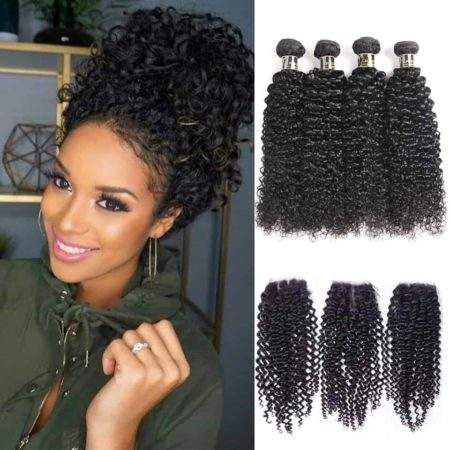 Brazilian Afro Kinky Curly Human Hair Weave 3 and 4 Bundles With Closure (3)