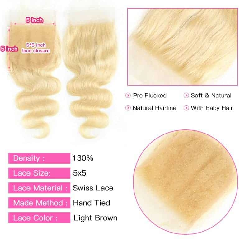 Brazilian Body Wave 5x5 Human Lace Closure Blonde 613 Platinum With Baby Hair (4)