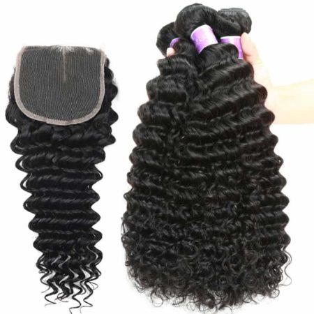 Brazilian Deep Wave Human Hair Weave 3 Bundles With Closure (5)