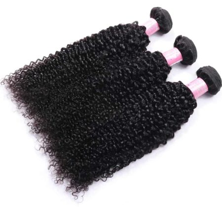 Brazilian Human Kinky Curly 3 Bundles With 13x4 Frontal Closure (6)
