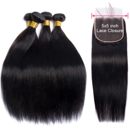 Brazilian Human Straight Hair 3 Bundles With 5x5 Lace Closure (6)