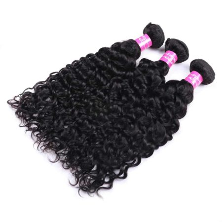 Brazilian Human Water Wave Hair 3 Bundles With Closure (4)