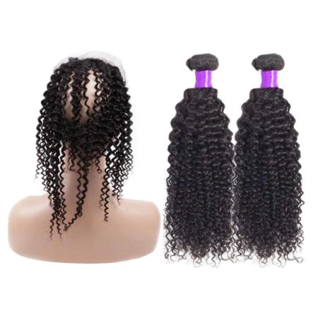 Brazilian Kinky Curly 2 Bundles With 360 Frontal Closure With Baby Hair (3)