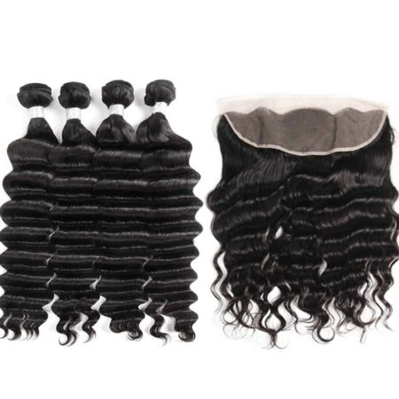 Brazilian Loose Deep Wave Human Hair 4 Bundles With Frontal Closure (2)
