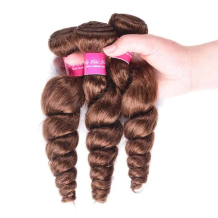 Brazilian Loose Wave Human Mink Hair 3Pcs with Closure #4 Light Brown Colour (3)