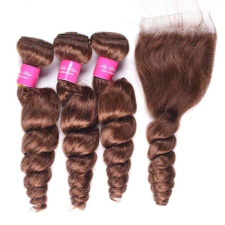 Brazilian Loose Wave Human Mink Hair 3Pcs with Closure #4 Light Brown Colour (6)