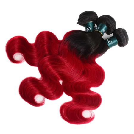 Brazilian Red Ombre 2 Tone Body Wave Human Hair Weaves 3 Bundles T1B and Red (5)