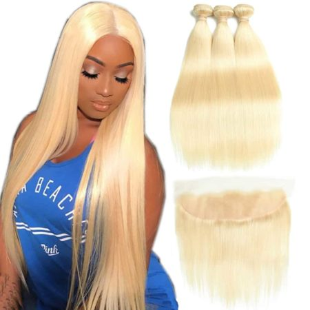 Brazilian Straight 613 Blonde Hair Weave 3 Bundles With 13X4 Frontal (2)