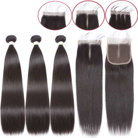 Brazilian Straight Hair Weave Bundles With Closure Hair (3)
