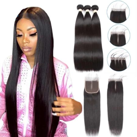 Brazilian Straight Hair Weave Bundles With Closure Hair (4)