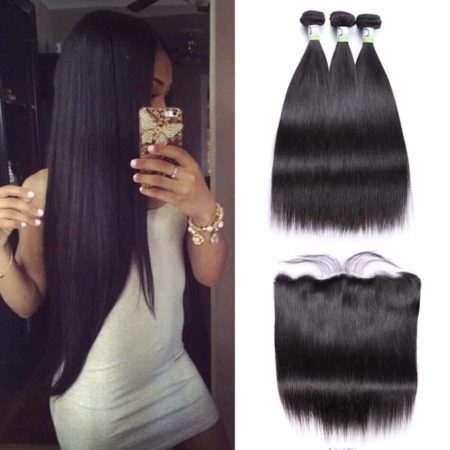 Brazilian Straight Human Hair Weave 3 Bundles With Frontal Natural Color (1)