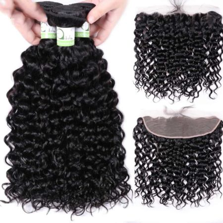 Brazilian Water Wave Hair 3 Bundles With 13x4 Frontal Closure (1)