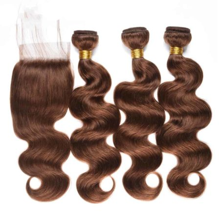 Burmese Body Wave Hair 3 Bundles with Closure #4 Light Colour Brown Non-Remy (5)