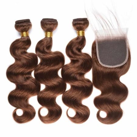 Burmese Body Wave Hair 3 Bundles with Closure #4 Light Colour Brown Non-Remy (6)