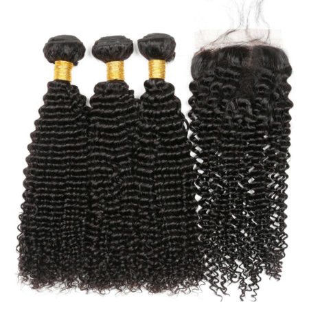 Cambodian Kinky Curly Human Non Remy Hair 3 Bundles With 44 lace Closure