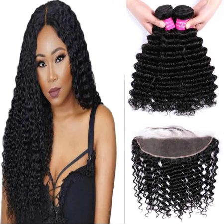 Deep Wave Brazilian Hair Weave 3 Bundles With 13x4 Frontal Closure