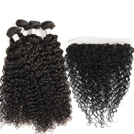 Human Indian Water Wave 3 or 4 Bundles With Lace Frontal Closure Pre Plucked Weave (1)